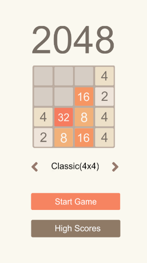 2048 puzzle game start