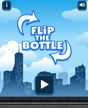 press play to start flip the bottle game