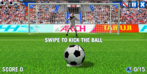 swipe to kick the ball