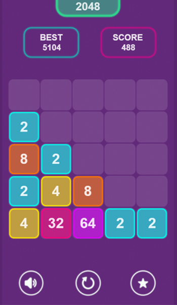 neon 2048 game play