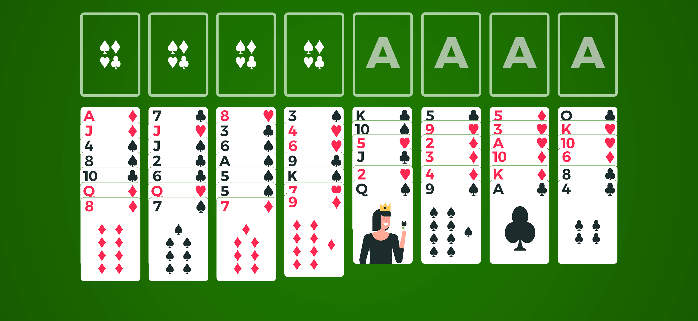 spider solitaire card lines