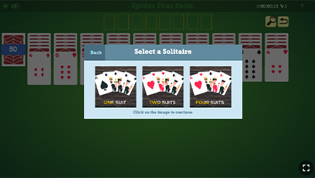 spider solitaire level selection